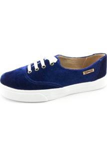 Tênis Quality Shoes Veludo Feminino - Feminino-Marinho