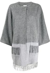 Snobby Sheep Brushed Knit Fringed Cardigan - Cinza