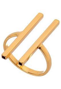 Anel Com Hastes Banhado A Ouro- Dourado- Regulável