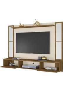 Painel Para Tv Até 60 Polegadas Com Espelho 2 Portas Ametista Móveis Bechara Cinamomo/Off White