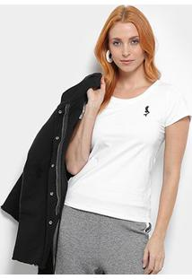 Camiseta Top Moda Bordado Feminina - Feminino-Branco