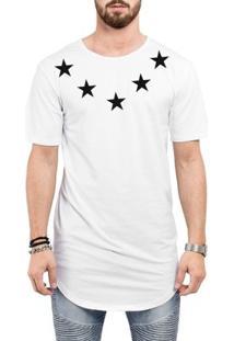Camiseta Criativa Urbana Long Line Oversized Star Colar - Masculino-Branco