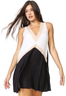 Vestido Triton Curto Recortes Preto/Off-White