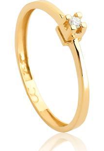 Anel Solitário De Ouro 18K Diamante 3 Pontos To Love