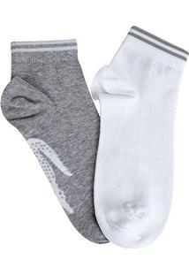 Meia Soquete Lacoste 2 Pares - Masculino-Cinza+Branco