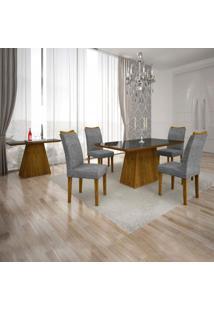 Conjunto Sala De Jantar Completa Com Mesa Tampo Vidro, 4 Cadeiras E Aparador Pampulha Leifer Canela/Linho Cinza/Preto