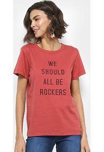 Camiseta Colcci Estampada Feminina - Feminino-Vermelho Claro