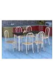 Conjunto De Mesa Granada Com 6 Cadeiras Madri Branco E Nature Bege Gr