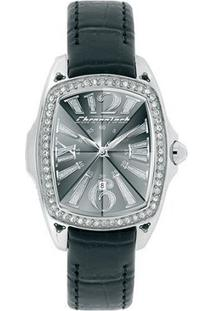 Relógio De Pulso Chronotech Prisma Lady Night - Aço C - Feminino-Prata+Preto