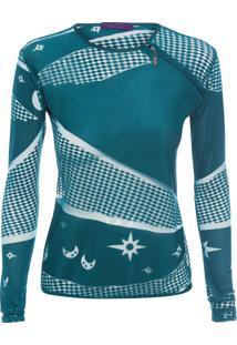 Blusa Feminina Mystic Cropped Abertura - Azul