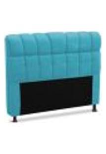 Cabeceira Solteiro Estofada Ceuta 90 Cm Azul Velur