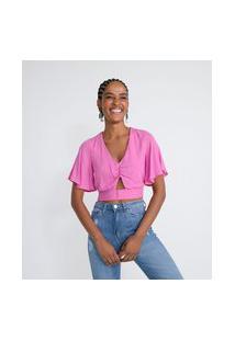 Blusa Em Viscose Com Detalhe Vazado Na Frente E Amarração Nas Costas   Blue Steel   Rosa   Gg