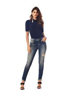 Calca Skinny Andreia Cos Intermediario Com Termocolante Jeans