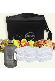 Kit Bolsa Térmica Tipo Keeppack Preta + Mini Galão Água Preta + 6 Refeições Rythmoon - Unissex