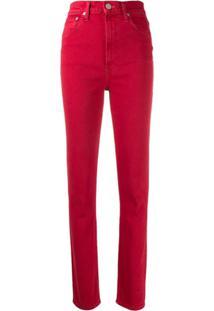 Helmut Lang Calça Jeans Cintura Alta - Vermelho