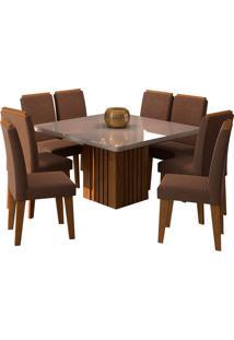 Conjunto De Mesa Com 8 Cadeiras Para Sala De Jantar 130X130 Ana/Tais-Cimol - Savana / Off White / Chocolate