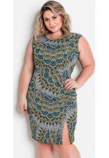Vestido Com Fenda Plus Size Abstrata