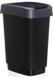 Lixeira Reciclagem Rotho Plastico Cinza 10Litros