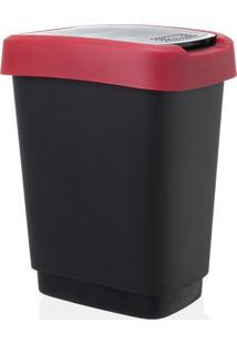 Lixeira Reciclagem Rotho Plastico Vermelho/Cinza 10Litros