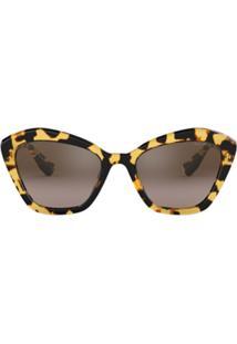Farfetch. Óculos De Sol Feminino Kj Fram Marrom U2 Sunglasses - Eyewear Cat  Eye Miu 8b52e0bf17