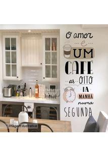 Grudado Adesivo De Parede O Amor É Um Caf㩠Preto & Rosa 148X58Cm