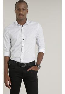 Camisa Masculina Slim Estampada Manga Longa Branca
