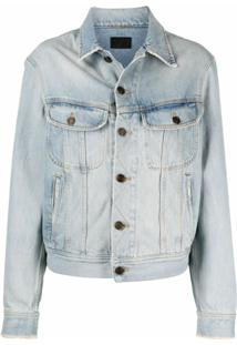 Saint Laurent Jaqueta Jeans Com Abotoamento - Azul