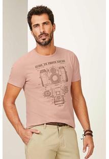 Camisetar Rosa Slim Máquina Fotográfica Malwee