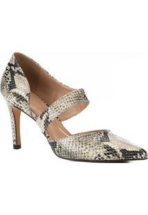Scarpin Couro Shoestock Lopsided Snake - Feminino-Bege+Preto
