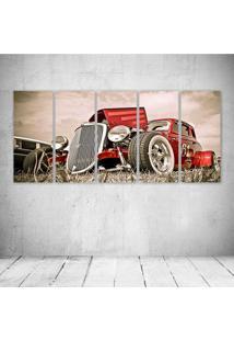 Quadro Decorativo - Old Car Red (2) - Composto De 5 Quadros