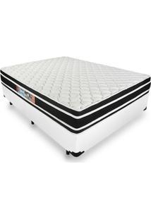 Cama Box Casal + Colchão De Espuma D33 - Castor - Black White Double Face - 138X188X62Cm Branco