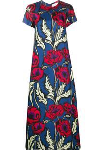 La Doublej Vestido De Seda Com Estampa Floral - Azul