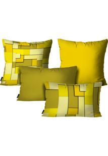 Kit Mdecore Com 4 Capas Para Almofadas Abstrato Amarelo