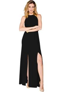 Vestido Longo Fenda Alphorria - Feminino-Preto