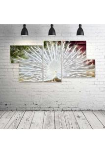 Quadro Decorativo - Peacock-Neon-(2) - Composto De 5 Quadros
