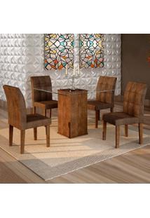Conjunto De Mesa De Jantar Havana Com 4 Cadeiras Vitória Veludo Chocolate Marrom