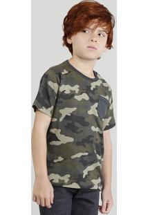 Camiseta Infantil Estampada Camuflada Com Bolso E Manga Curta Verde Militar