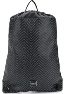 Versace Jeans Couture Mochila Chevron Com Logo - Preto