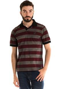 Camisa Konciny Polo Manga Curta Estampa Nas Costas Listrado