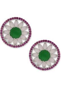 Brinco Redondo Pequeno Cravejado Com Zircônias - Feminino-Rosa+Verde