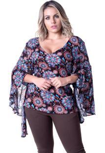 Blusa Em Viscose Meiruxa Evazê Multicolor