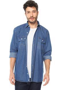 Camisa Jeans Wrangler Reta Azul