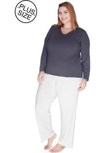 Pijama Listrado Composê Bold Plus Size Preto