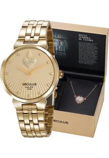 Kit Relógio Seculus Feminino Com Colar Nossa Senhora De Fátima 35007Lpskds1K1
