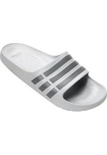 Chinelo Slide Adidas Duramo - Unissex-Cinza+Prata