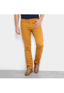 Calça Sarja Reta Ellus Color Power Straight Masculina - Masculino-Mostarda