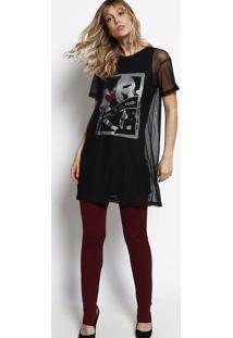 Camiseta Com Tule- Preta & Vermelha- Lebôhlebôh