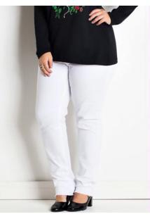 Calça Plus Size Branca Com Fechamento Em Zíper