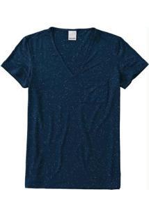 Blusa Azul Escuro Botonê Bolso Malwee
