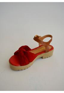 Sandália Opposite Em Camurça Vermelha E Couro Caramelo